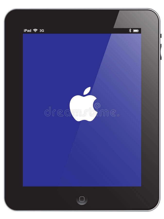 Apple iPad vector. Illustration of the Apple iPad2 - glossy black and chromed laptop computer isolated on a white background with vector additonal format file