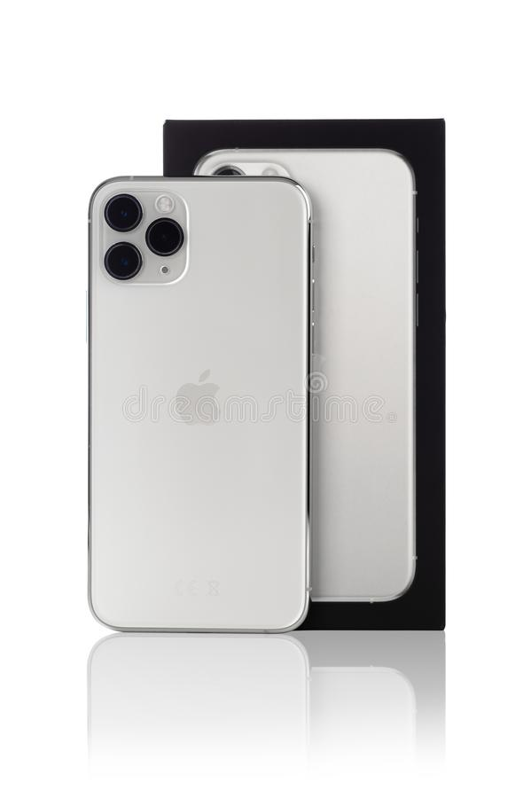 Free Apple IPhone 11 Pro Silver Color On A White Background. Stock Image - 168291391