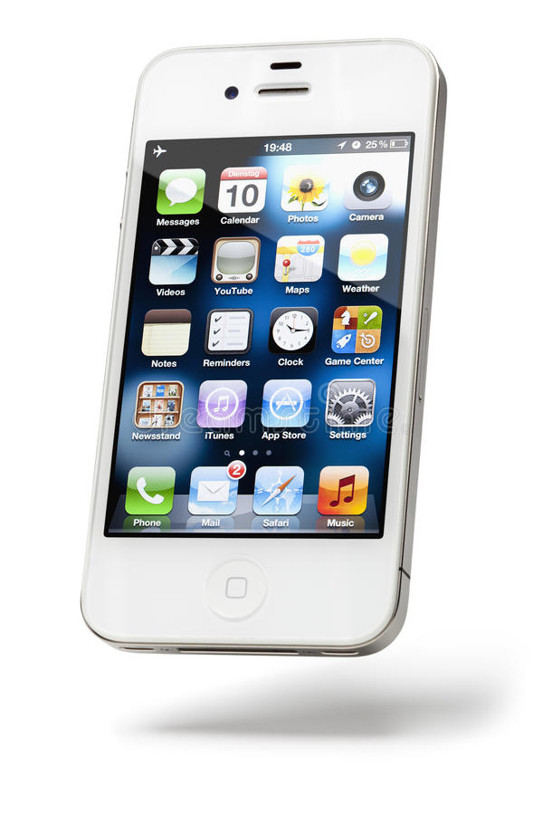 Apple iPhone 4, white, isolated. Graz, Austria - July 30, 2011: An Apple iPhone 4 mobile phone in white standing on isolated white background on July 30, 2011