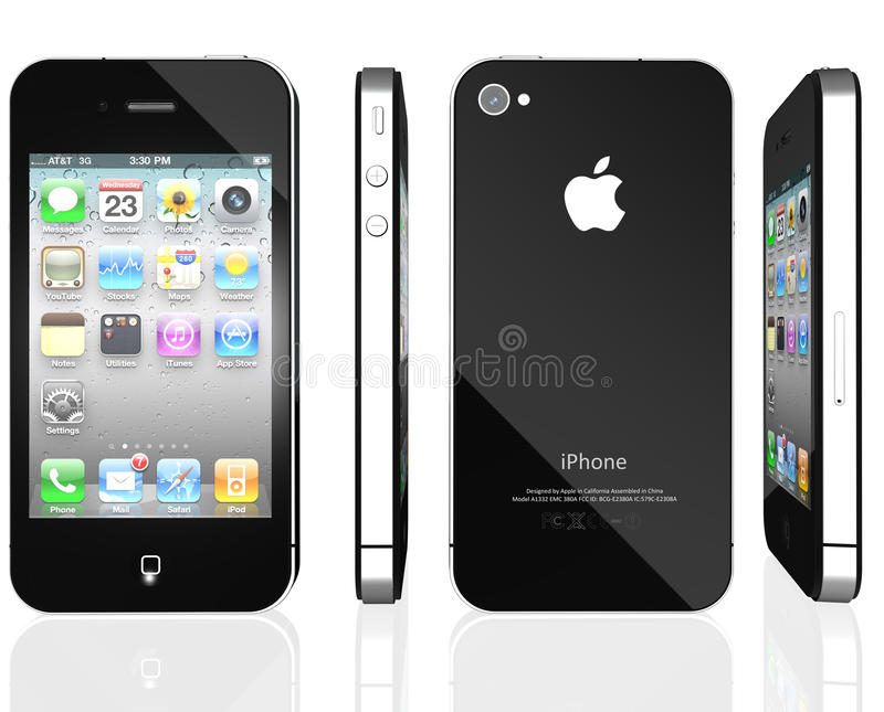 Apple iPhone 4S. Front, back and side view photo of a black iPhone 4th generation isolated on a white background on a reflective surface royalty free illustration