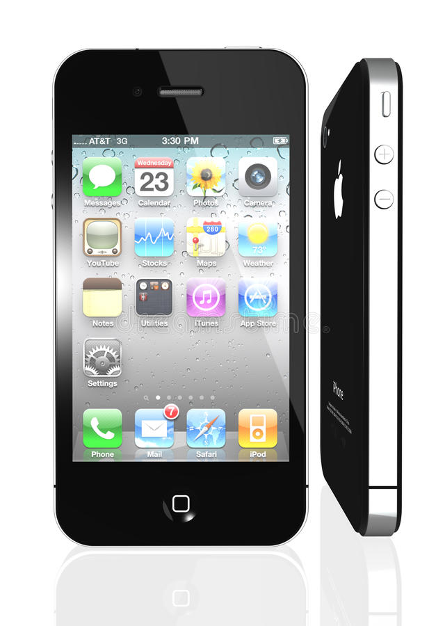 Apple iPhone 4S with icons inside. This image represents the new Apple iPhone 4, 4th generation