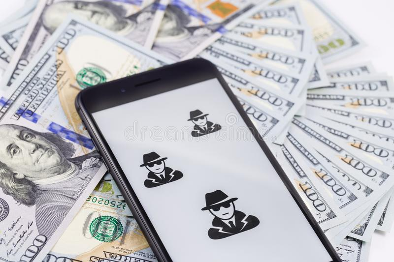 Apple iPhone 8+ with anonymous and hackers and money royalty free stock photos