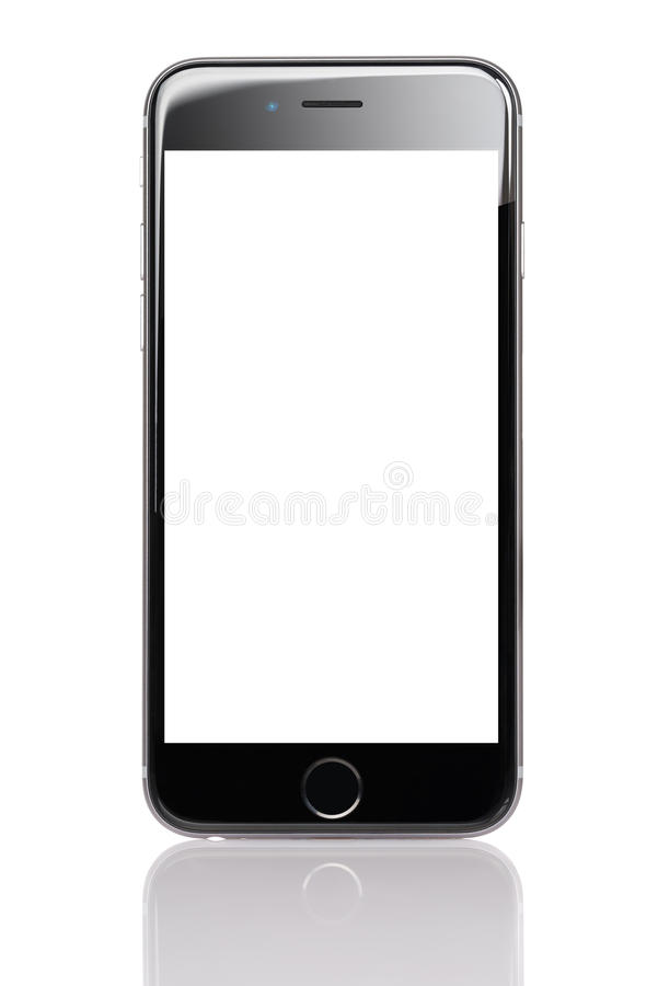 Apple iPhone 6 With Blank Screen. Berlin; Germany - October 10; 2014: Apple iPhone 6 with blank screen isolated against white background. Apple iPhone 6 was royalty free stock photos