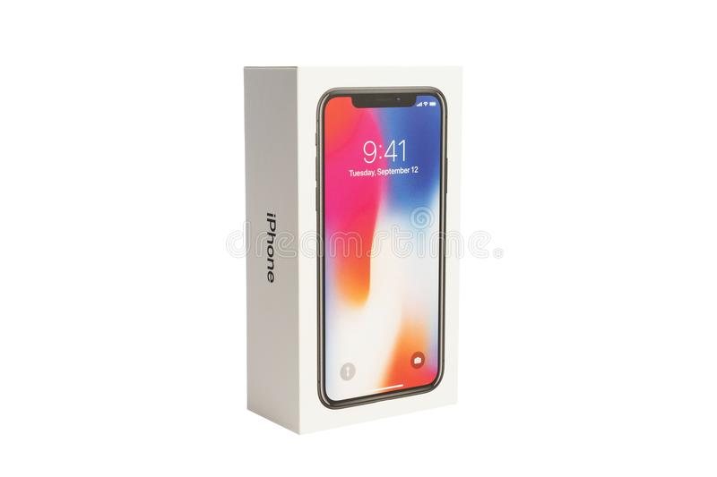 Apple iPhone X and box on white background stock images