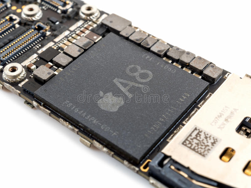 Apple iPhone 6 CPU IC chip royalty free stock image