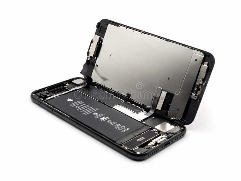 Apple iPhone 7 disassembled showing components inside stock image