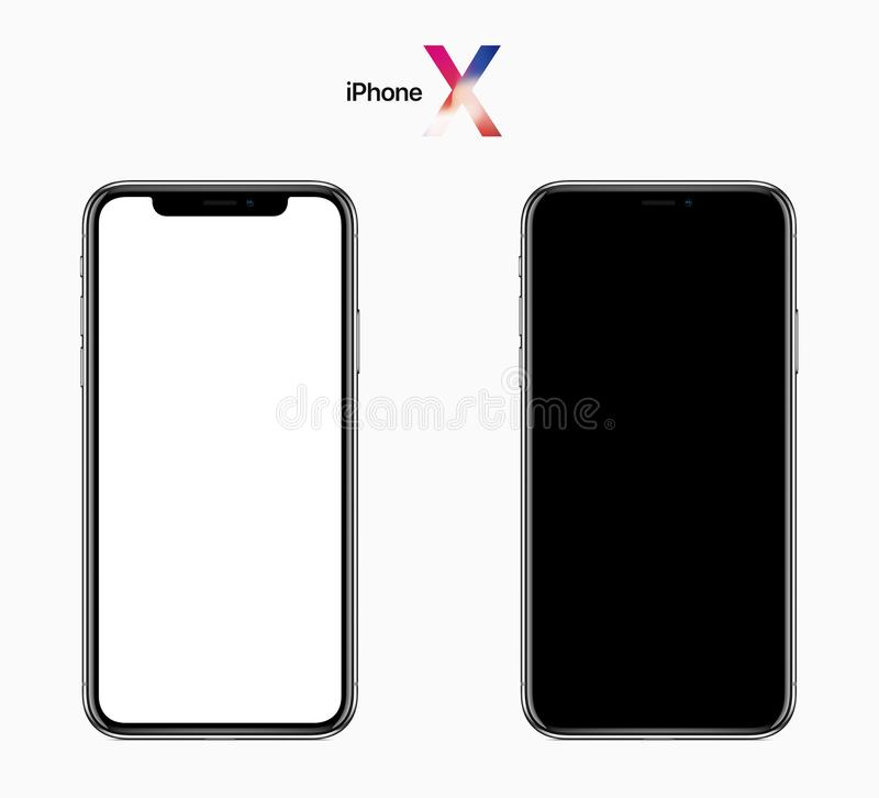 Download Apple IPhone X Front View, Black And White Screens With Clipping Path Editorial Photography - Image of front, full: 113147427