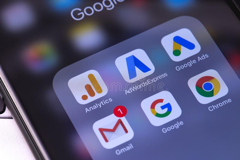 Apple iPhone with Google services on the screen. Russia - October 04, 2018 royalty free stock photography