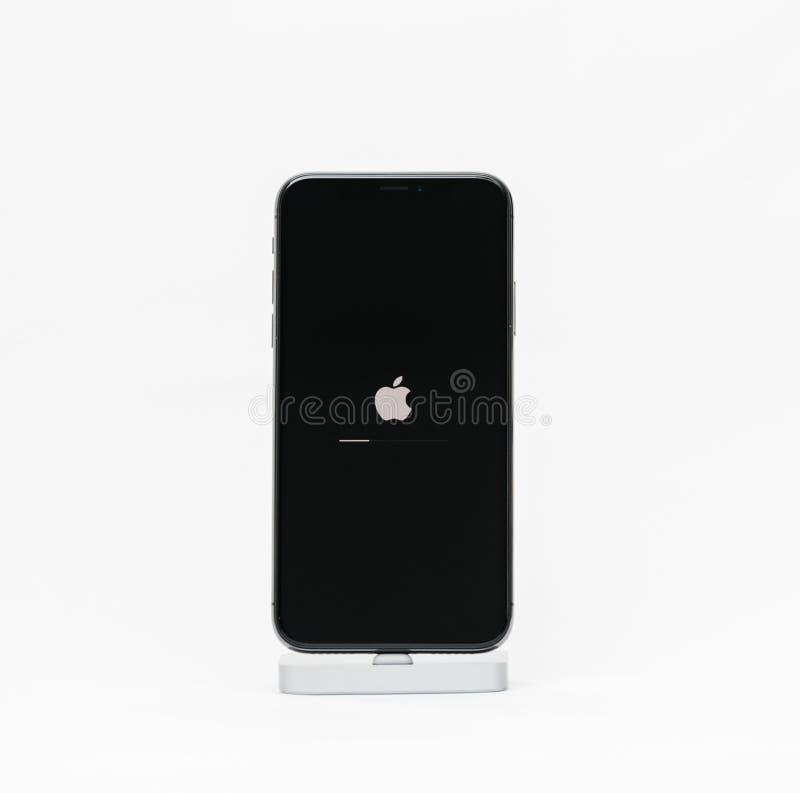 Apple iPhone X isolated white background apple logo royalty free stock photo