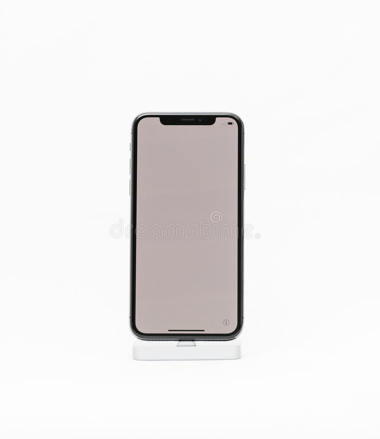 Apple iPhone X isolated white background blank screen stock photo