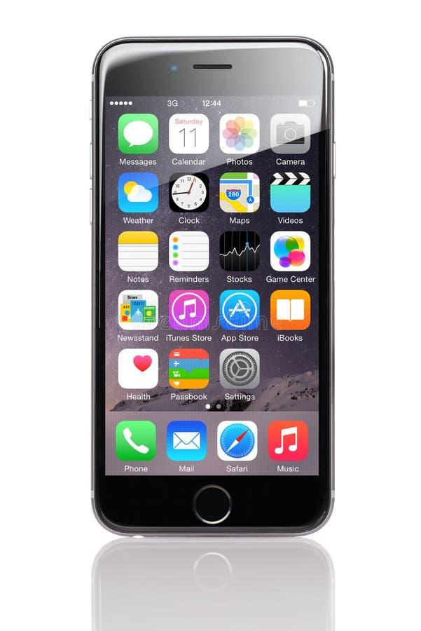 Apple-iPhone 6 met Diverse Toepassingen op Homescreen royalty-vrije stock foto