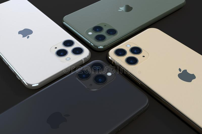 Apple iPhone 11 Pro, 2019, all colours royalty free stock photos