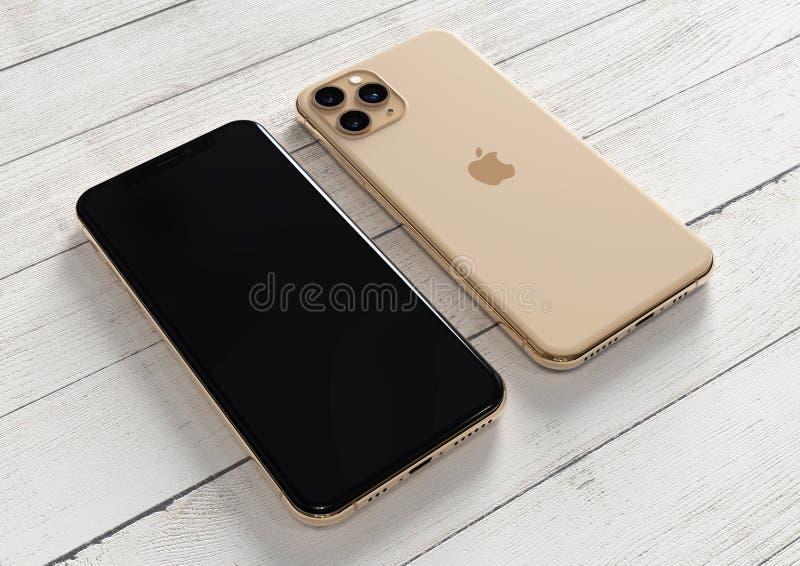 Apple iPhone 11 Pro Gold, 2019, ambos lados, en la mesa fotografía de archivo libre de regalías