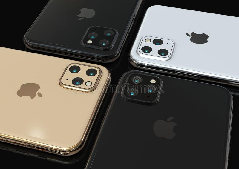 Apple iPhone 11 pro, 2019, rumored design simulation. Cupertino, California - September 2019: Apple iPhone 11 pro rumored design simulation. Realistic mock-up royalty free stock image