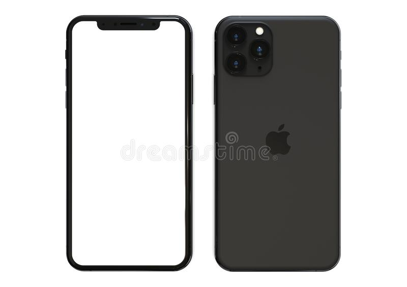 Apple iPhone 11 Pro Space grey, 2019, both sides, frontal. Apple iPhone 11 Pro Space grey 2019 - front and back sides visible, on a white background, blank royalty free stock photography