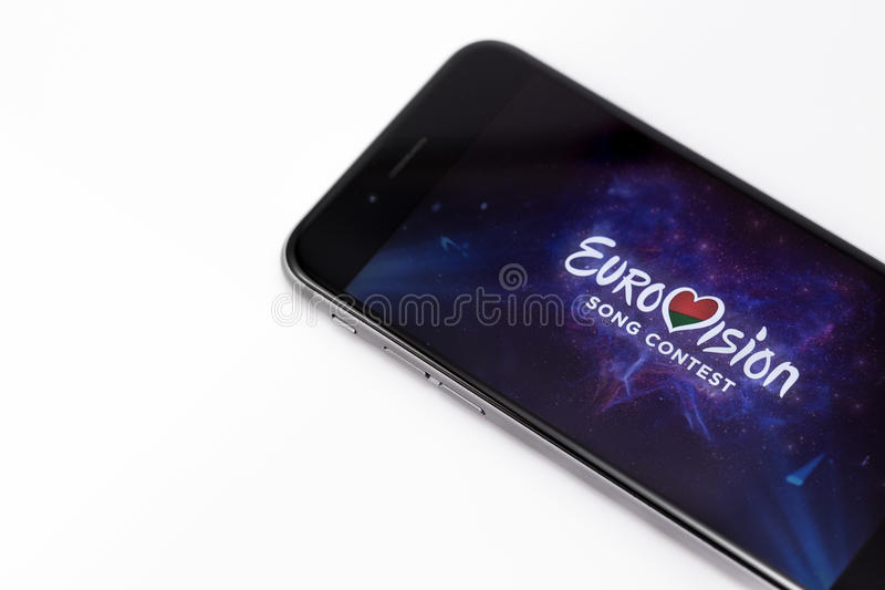 Apple iPhone 6s and Eurovision logo on display. Eurovision is international musical festival. Ekaterinburg, Russia - April 5, 2017 stock photo