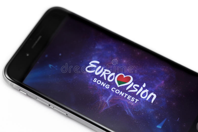Apple iPhone 6s with logo of Eurovision. Eurovision is international musical festival. Ekaterinburg, Russia - April 5, 2017 stock images