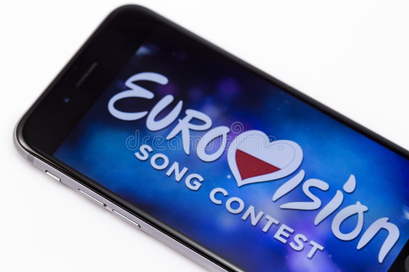 Apple iPhone 6s and logo of Eurovision. Eurovision is international musical festival. Ekaterinburg, Russia - April 5, 2017 stock photos