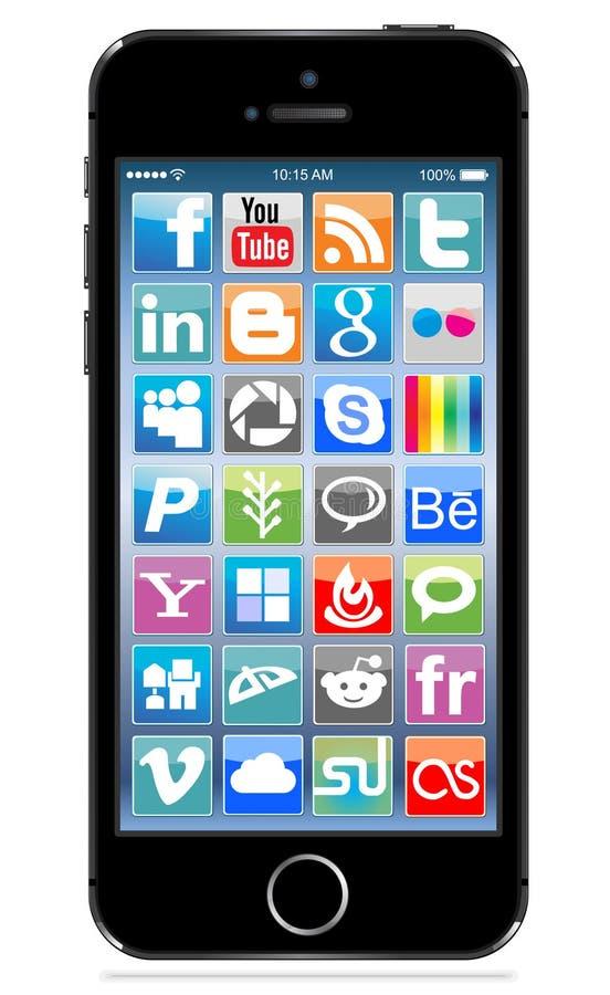 Apple-iphone5s zwarte stock illustratie