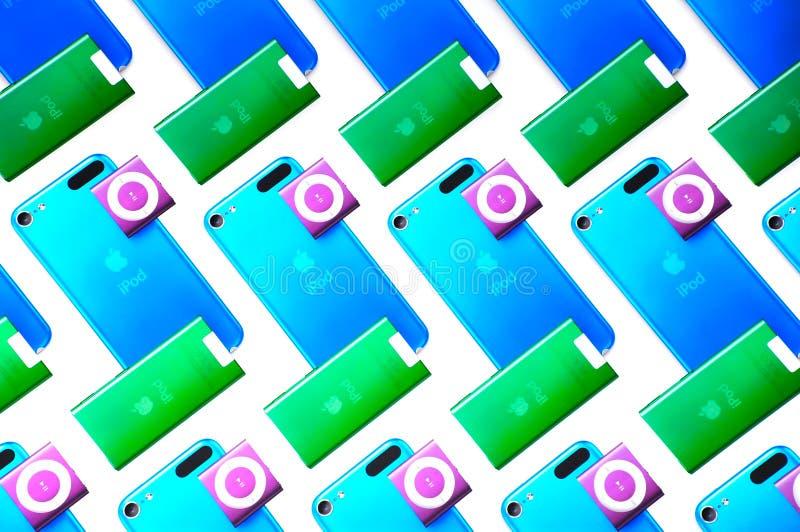 Apple iPod Nana, tacto de iPod y barajadura foto de archivo libre de regalías