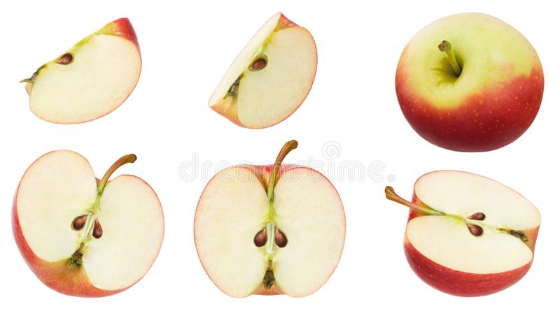 Apple isolated. Set of red ripe apples fruit, half, piece and slice isolated on white background as collection for package design. Close up royalty free stock photography