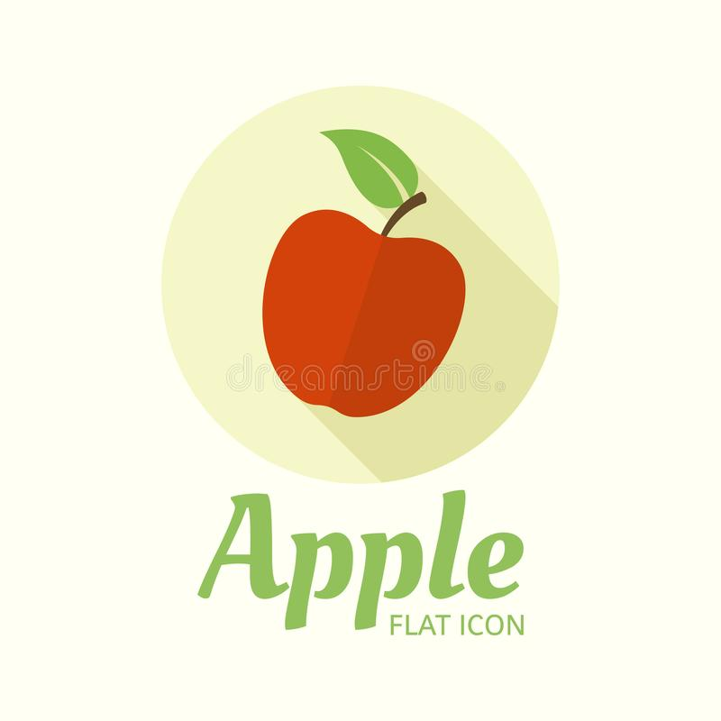 Apple isolated vector flat style round icon stock illustration