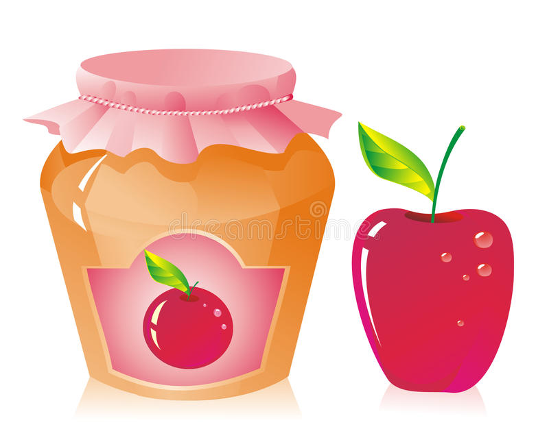 Apple jam. Jar of apple jam and fresh apple stock illustration