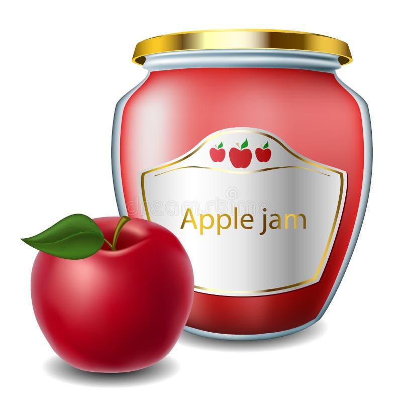 Apple-jam met kruik royalty-vrije illustratie