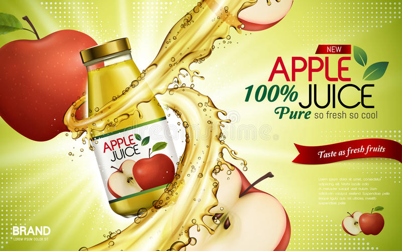 Apple juice ad. Apple juice contained in glass bottle with sliced apple elements, light green background, 3d illustration royalty free illustration