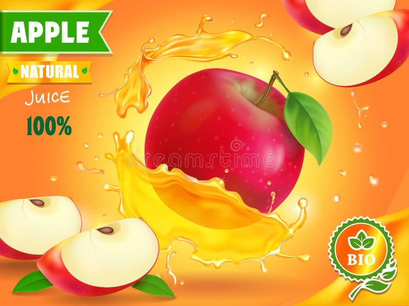 Apple juice advertising. Fruit refreshing drink ad. vector illustration