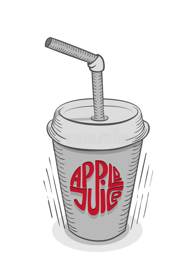 Apple Juice in disposable glass with straw. Disposable glass with straw and red sign apple juice. Sketch style royalty free illustration