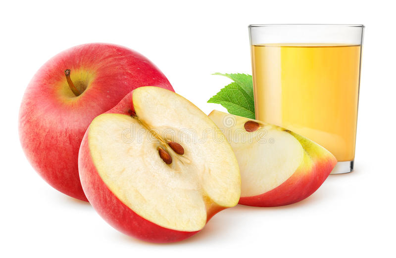 Apple juice. And fresh apples isolated on white stock photography