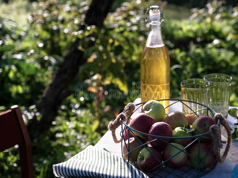 Apple juice in glass bottle and apples fruits in autumn stock photography
