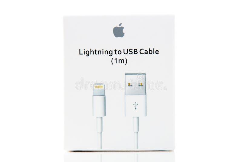 Apple kabel för apparatanslutningar royaltyfri fotografi