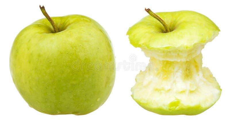 Apple-kern en gehele Granny Smith royalty-vrije stock afbeelding