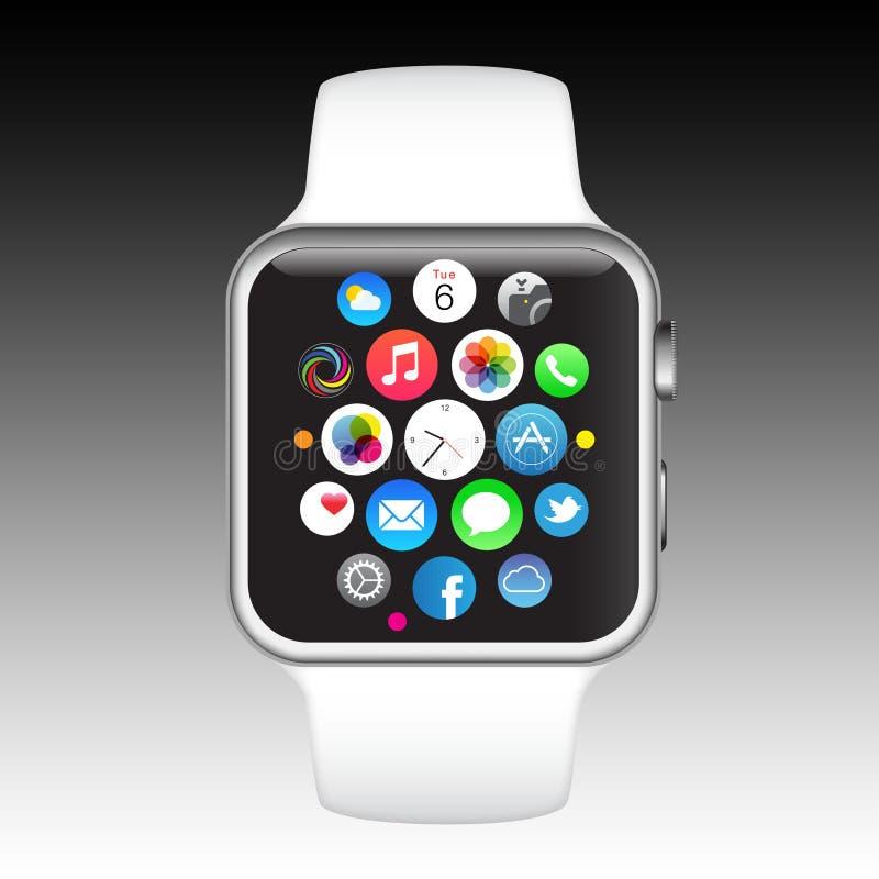 Apple klocka royaltyfri illustrationer