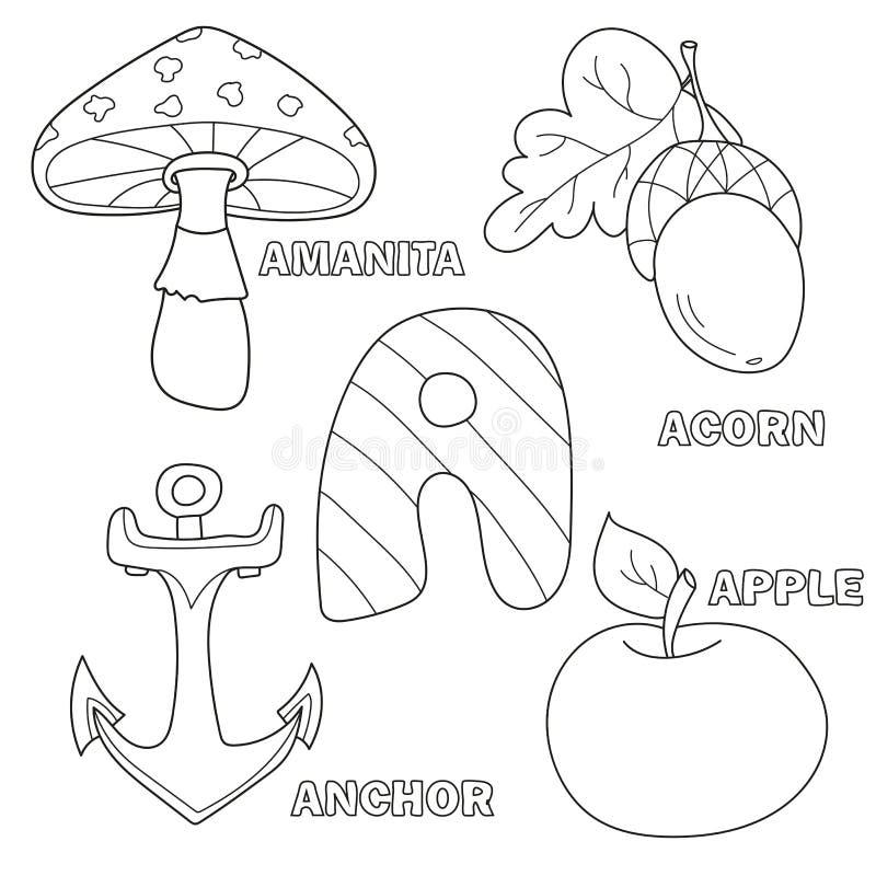 Apple, kotwica, amanita, acorn list A w dzieciaka abecadle ilustracja wektor