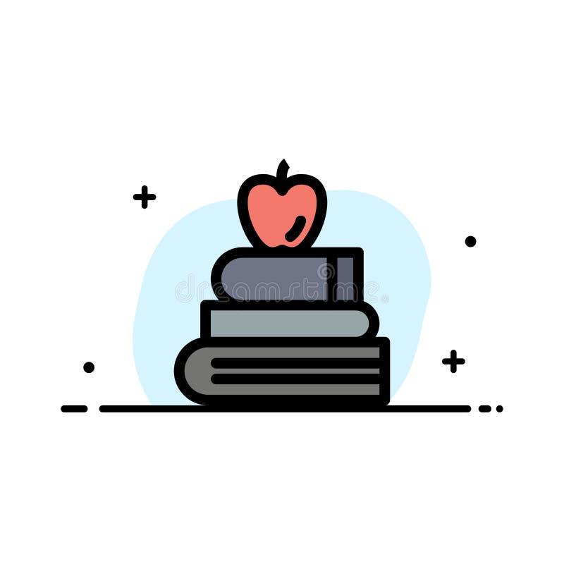 Apple, książki, edukacja, nauki mieszkania ikony sztandaru Biznesowa linia Wypełniający Wektorowy szablon ilustracji
