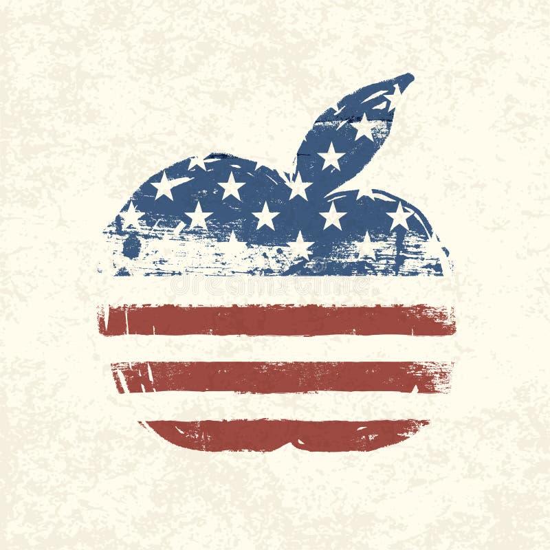 Apple kształtował flaga amerykańską. royalty ilustracja
