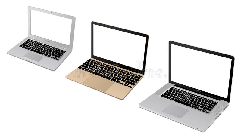 Apple laptop collection stock illustration
