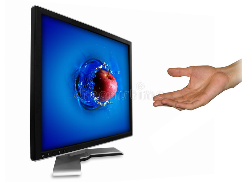 Download Apple from LCD screen stock illustration. Illustration of entertainment - 4721155
