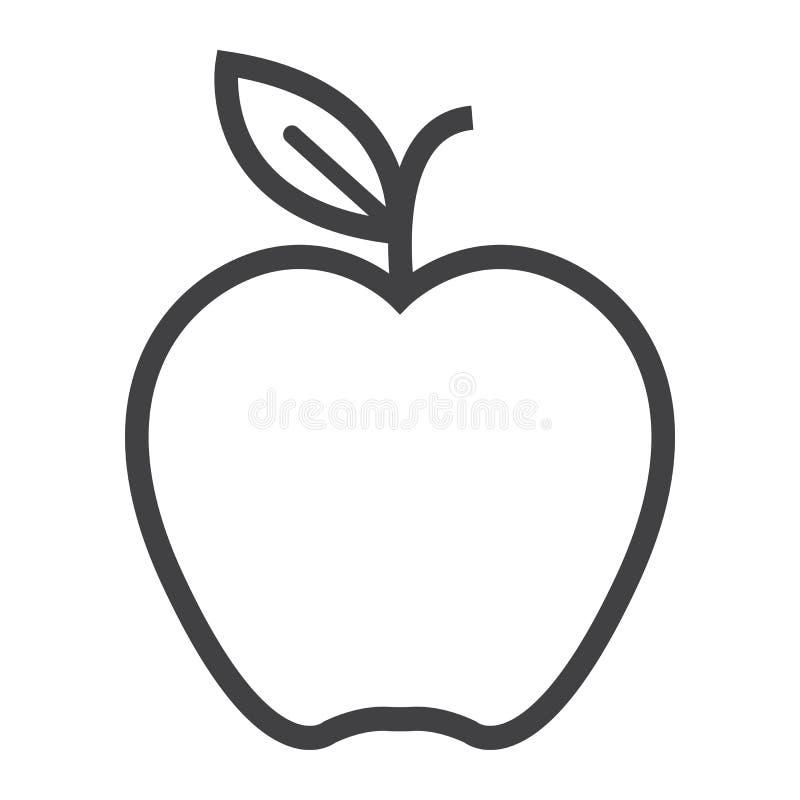 Apple-lijnpictogram, voedsel en fruit, vectorgrafiek stock illustratie