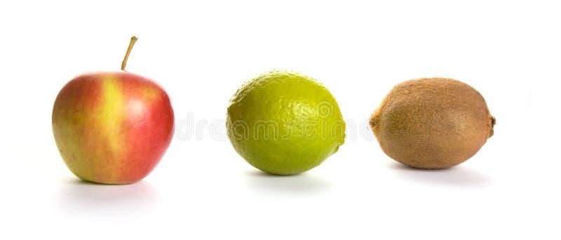 Apple, lime and kiwi stock image