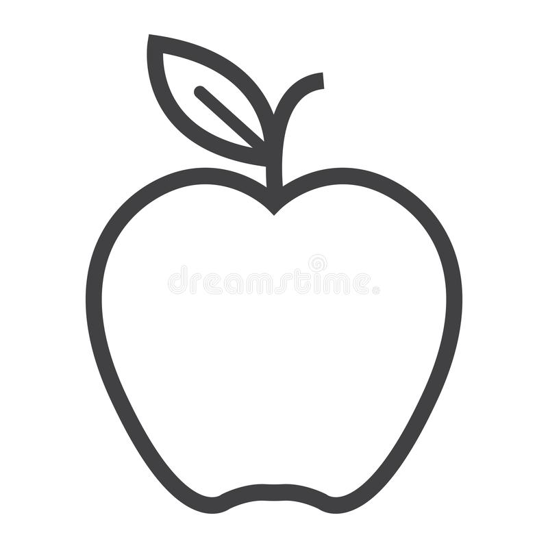 Apple line icon, food and fruit, vector graphics stock illustration
