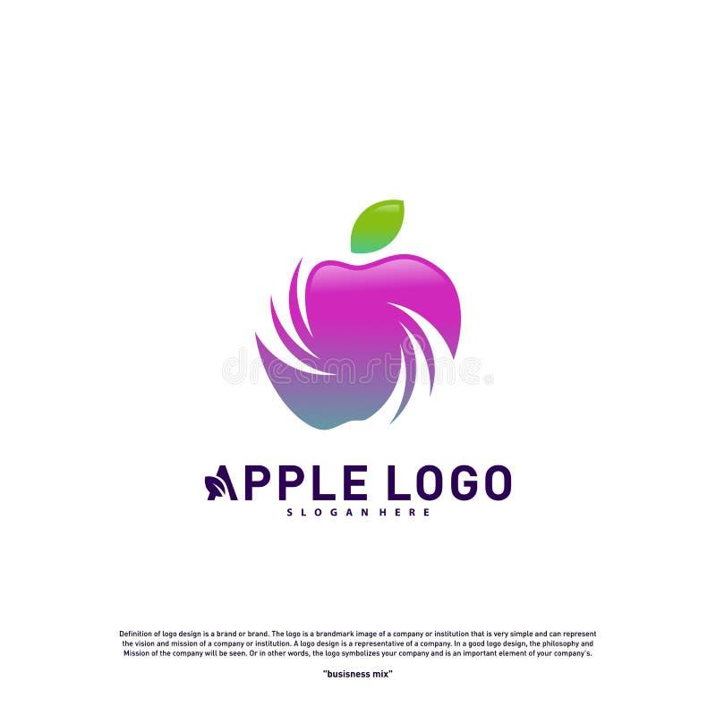 Apple logo design concept vector. Fruit Apple Creative Logo vector template. Icon symbol vector illustration