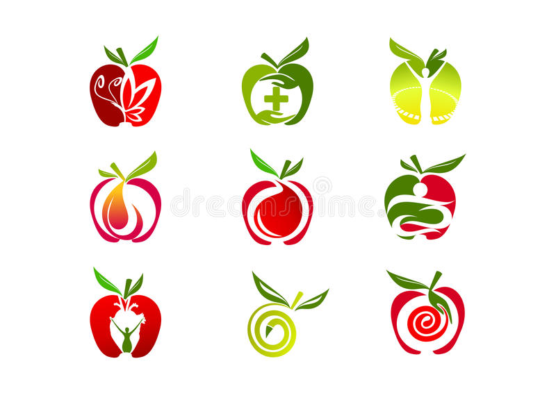 Apple logo design. Isolated in white background royalty free illustration