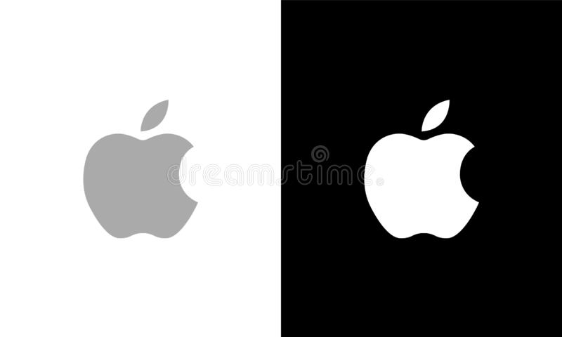 Apple Logo Gray e editorial branco imagem de stock