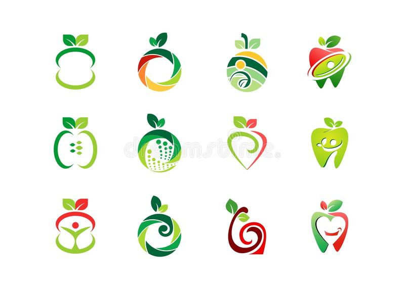 Apple logo, ny frukt, design för vektor för symbol för symbol för uppsättning för natur för fruktnäring vård- royaltyfri illustrationer