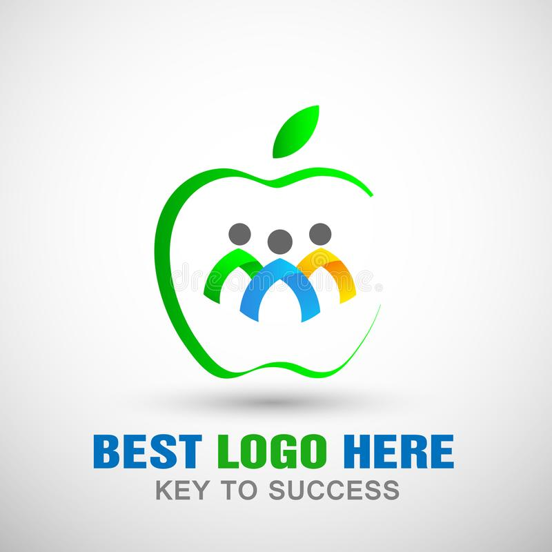 Apple logo shaped people logo icon team group work concept illustrations for company business logo stock illustration