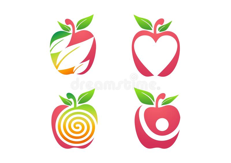 Apple logo, symbol för symbol för uppsättning för natur för ny äpplefruktnäring vård- royaltyfri illustrationer
